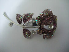 PURPLE SPARKLY STONED SILVER FLOWER ON STALK WITH LEAVES BROOCH new box REDUCED