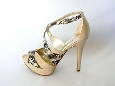 New  Guess OpenToe Sandals By Marciano Jaclyn-M Beige Multi Patent Leather   9