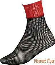 Ankle Socks Fishnets Red Black with Pink Trim Ladies Heels OS 6-10 New DTS00639