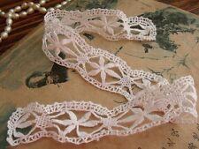 4Pcs Lot- Antique Vtg. Bobbin Lace Trim French Needle Lace flower Doll White 1#