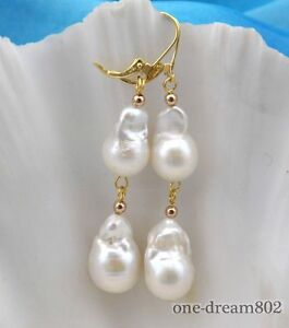 19mm baroque white keshi reborn pearl dangle earring 14k