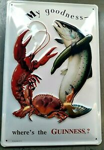 GUINNESS, CRAB/LOBSTER/FISH: EMBOSSED 3D METAL ADVERTISING SIGN 30x20cm,PUB, BAR