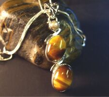 Tiger Eye and Pearl Sterling Silver Pendant
