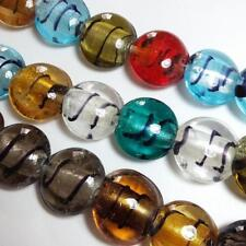 10pcs Assorted Silver Foil Centred Round Lampwork Beads 20mm SL109