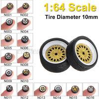 4pcs Wheel Alloy Rubber Tires Axle Brake Diecast 1:64 For Hotwheels
