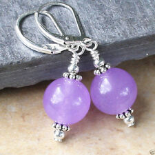 12mm Natural Purple Jade Beads silver plating Leverback Dangle Earrings JE172