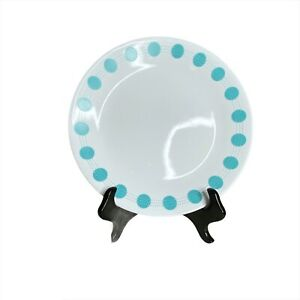 """Corelle South Beach 10 1/4"""" dinner plates (4) Teal And White Circles And Lines"""