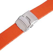 22mm Bonetto Cinturini 300D Orange Smooth Rubber Deployant Watch Band Strap