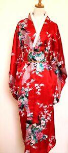 Traditionelle Japanische Luftiger Kimono Damen Mantel mit Hüftgürtel Rot