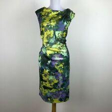 Suzi Chin Maggy Boutique Dress Sz 14 Green Purple Gold Sheath Watercolor Floral