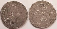 Henri III, 1/2 Franc 1587 B Rouen, Belle patine !!