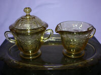 Vintage Amber Madrid Creamer Covered Sugar Bowl & Tray ~ Elegant ~ Federal Glass