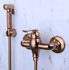 Rose Gold PVD Solid Brass Bidet Douche Shattaf Spray Hand Shower Head Set Mixer