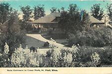 St Paul MN Ramped Entrance To Como Park at Sundown~1912 Postcard
