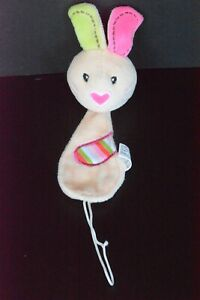 Nuby Pacifinder Bunny Rabbit Paci Holder Pacifier Plush Soft Clip