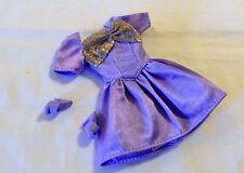 Barbie Doll Pink Tag Purple Short Fancy Dress Glittery Bra Top Sleeve + Shoes