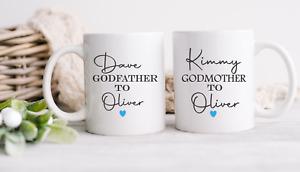 Personalised Godmother / Godfather God Parents Mug Cup Set Christening Gifts (B)