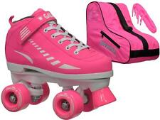 New Epic Galaxy Neon Pink Girls Ladies Quad Roller Speed Skate + Bag Bundle