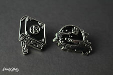 SET OF 2 BLACK WITCH SPELL BOOK CRYSTAL BALL PIN BADGES METAL SILVER BLACK