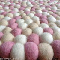 40cm Felt Ball Round Mat Handmade White Light Pink & Tan 100% Wool Rug Mat