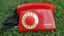 VINTAGE SOVIET POLAND  ROTARY DIAL PHONE TELEPHONE TELKOM ELEKTRIM RED COLOR