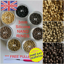 NANO RING BEADS SILICONE LINED 3mm - Nano Tip Hair Extensions 125 + FREE PULLER