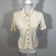 Milano Women Short Sleeve Blouse Top Button Down Shirt Size Small Knit Top - E8