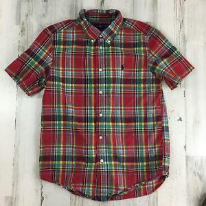 Ralph Lauren Boys L 14 16 Red Plaid Dress Shirt Short Sleeve Polo Pony Logo