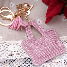 Hot Fashion 700+ Crystals Rhinestones Pink Handbag Charm For Women Keyring Bag