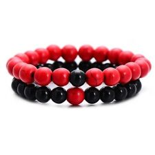 Couples Distance Bracelet 2pc Set Contrasting Natural Red Agate & Black Onyx