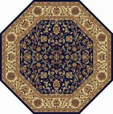 8x8 Blue Leaves Vines Petals Asian Area Rug Octagon 4817 - Aprx 7' 10 x 7' 10""