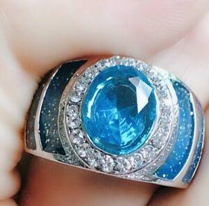 Natural Blue Topaz Gemstone Enamel 14K Solid White Gold Men's Ring #2069