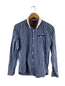 Ted Baker London Button Up Shirt Men Size 3 Blue Check Long Sleeve Pocket Collar