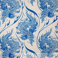 BonEful Fabric FQ Cotton Quilt VTG Blue White Asian Dragon Tattoo Tatsu Chinese