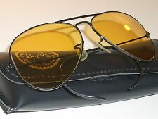 58mm VINTAGE B&L RAY BAN WRAP-AROUNDS AMBERMATIC BLACK CHROME AVIATOR SUNGLASSES