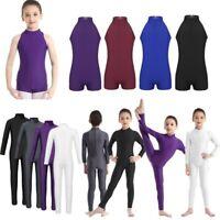 Girls Basic Ballet Dance Leotard Bodysuit Kids Zippered Back Gymnastics Jumpsuit