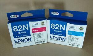 [1078*] 2x (TWO) EPSON 82N (C13T112292, C13T112392) Cyan & Magenta ( RRP>$55 )