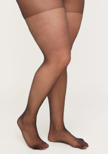 Catherines Pantyhose Day Sheer Hosiery Ribbed Panty Nylon Black Plus Size A