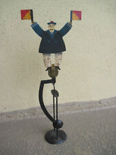 AUTHENTIC MODEL SAILOR WAVING FLAG SKY HOOK HANDPAINTED METAL BALANCE TOY wSTAND