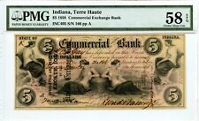1858 Terre Haute, Indiana $5 Commercial Exchange Bank  PMG 58 EPQ