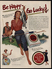 1951 Woman Fishing - Fish - LUCKY STRIKE Cigarettes - Happy Go Lucky- VINTAGE AD