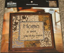 "Bucilla ""Home is Where Your Story Begins"" Cross Stitch Kit NIP 10x10"""