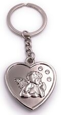 Herz mit Engel Schlüsselanhänger Anhänger silber aus Metall