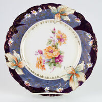 RS Prussia Iris Plate Large Roses, Blue Violet Tiffany Finish & Gold, Antique 9""