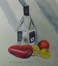 BARBARA F SUTTON WC STILL LIFE GLASS BOTTLE WITH VEGETABLES 1990