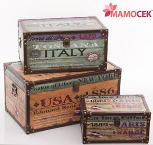 BAULE CASSAPANCA CONTENITORE Legno USA ITALY FRANCE Scatola Arredo Vintage Shabb