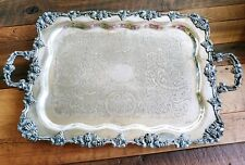 "MASSIVE 30.5"" BRANCHED GRAPES GOLDFEDER SILVER CO FOOTED SERVING TRAY GRAPE"