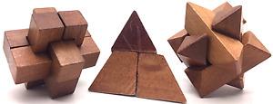 Classic Natural Wooden Puzzles 6 Different Mini Puzzle 4Brain Teaser Puzzles