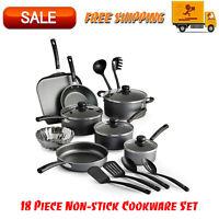 Primaware 18 Piece Non-stick Cookware Set, Kitchen Home, Pots & Pans Set, Gray
