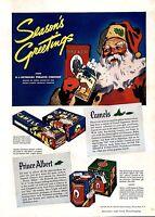 1935 Prince Albert Tobacco Santa Claus Vintage Christmas Ad w/Camels Cigarettes